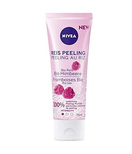 NIVEA Reis Peeling Bio Himbeere, natürliche Gesichtsreinigung mit milder Peeling-Intensität, Peeling für das Gesicht ohne Mikroplastik