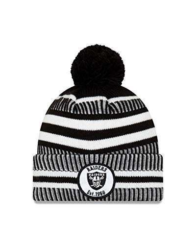 New Era Oakland Raiders Mütze Winter Beanie Knit NFL 2019 Sideline Home 1960 Schwarz Weiss - One-Size