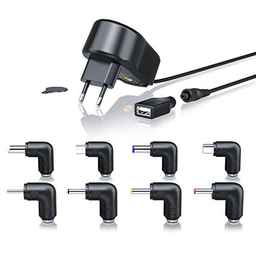 CSL - Universal Power Netzteil - Universal Ladegerät - 9 Verschiedene Adapter-Aufsätze inkl. USB, Mini und microUSB - 5-15V DC frei wählbar - Schutz vor Überlast, Überspannung und Kurzschluss -