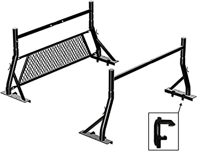 TMS 800Ibs Capacity Non Drilling Extendable Steel Universal Pickup Truck Rack with Removable Window Protector Headache Rack and Mounting Clamps Ladder Lumber Utility Two Bar Set (27-3/8'')