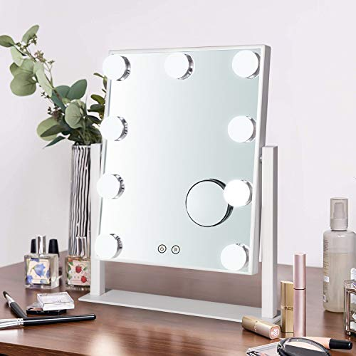 Hollywood Vanity Mirror Lighted Makeup Mirror,Tabletop Mirror with 12pc Dimmable LED Lights,3 Color Mode (White, Medium)
