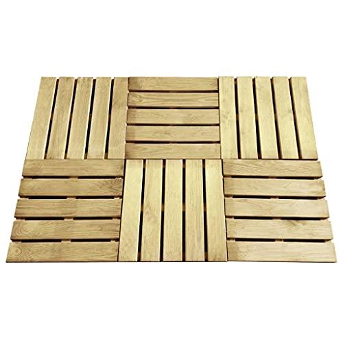 WUTINGKONG Dimensiones (Cada una): 50 x 50 x 3,2 cm (Largo x Ancho x Grosor) Baldosa de Porche 6 Unidades 50x50 cm Madera Verde