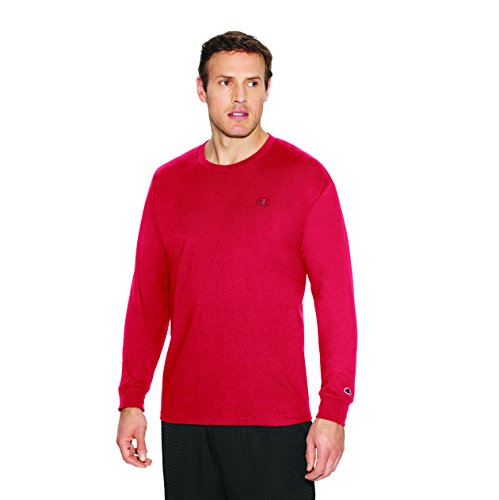 Champion Men's Classic Jersey Long Sleeve T-Shirt, Scarlet, X-Large