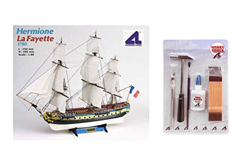 Artesania Latina 22517N. Maqueta de barco en madera. Hermione La Fayette. Escala 1/89 + Multiherramienta 4 en 1