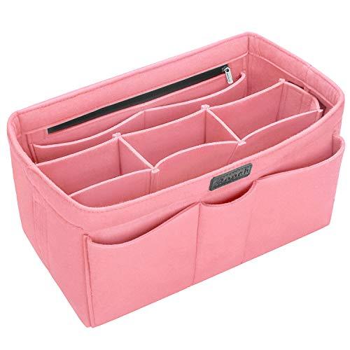 Ropch Taschenorganizer für Handtaschen, Filz Handtaschen Organizer Bag in Bag Innentaschen Handtaschenordner Organizer für Frauen, Rosa - L