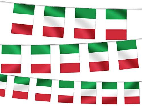 WM Wimpelkette Fahnendekoration Fahnenkette 4,5 m Flaggenkette Garten Bar Fanartikel W-IT Wimpel Italien 4.50 m