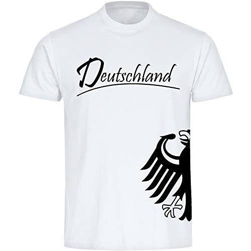 T-Shirt Deutschland Trikot Adler seitlich Herren weiß Gr. S - 5XL - Fanshirt Fanartikel Fanshop Trikot Fußball EM WM Germany,Größe:XXXL,Farbe:weiß