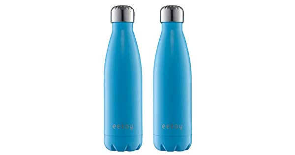 Leak Proof Keeps your drink Hot /& Cold for hours Eekay Wares 2 Pack PREMIUM QUALITY Stainless Steel Vacuum Insulated 17 oz Water Bottle Sweat Free Great For Coffee and Tea Blue BPA Free