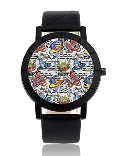 Shark Octopus Surf personalizado reloj personalizado casual correa de cuero negro reloj de pulsera para hombres mujeres unisex relojes