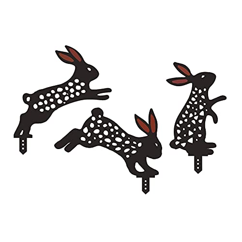 LOVIVER 3 Piezas estatuas de Conejo Silueta estacas de Sombra Juego de Combinaciones Decorativas de Conejo para Patio decoración Exterior Signos Ornamentos