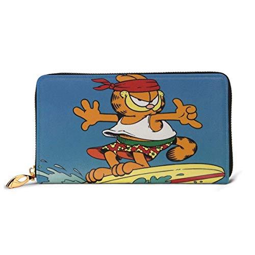 XCNGG Garfield Wallet Blocking Echtes Leder Wallets Double Zip Wallet Organizer Clutch Bag Kreditkartenhalter Große Kapazität Geldbörse Handytasche Für Männer Frauen