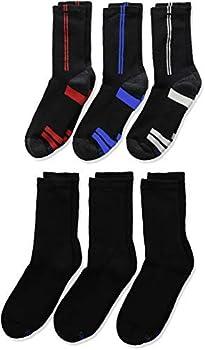 Hanes Boys  6-Pack EZ Short Crew Socks Black Large-Shoe Size  3-9