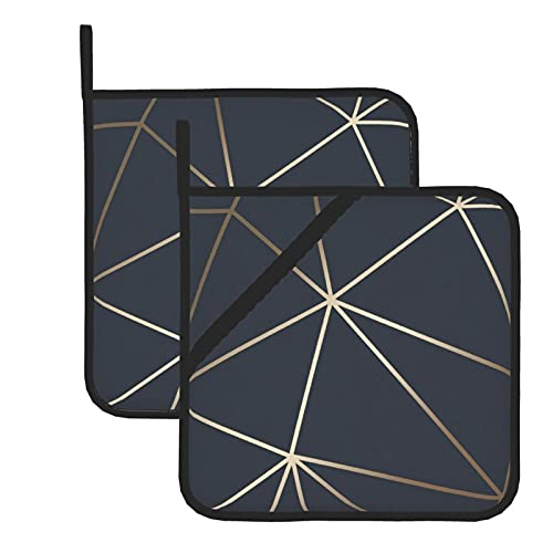 Pot Holders for Kitchen Heat Resistant Hot Pads and Oven Mitts Sets,Zara shimmer metallic navy gold for Cooking Grilling Microwave Insulation Pads Set of 2