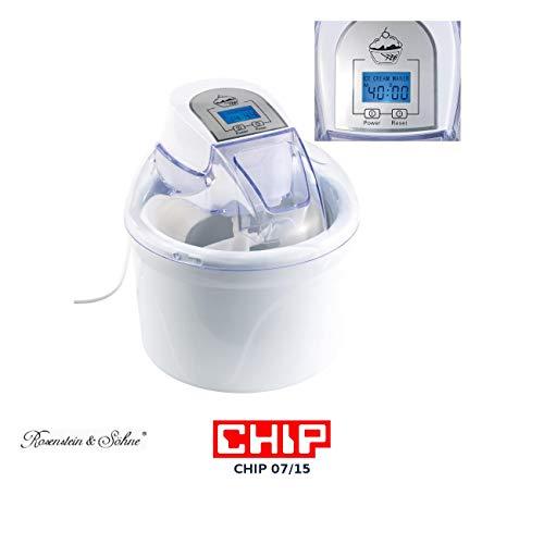 Rosenstein & Söhne Glacemaschine: 4in1-Eismaschine EMA-300 mit LCD-Display, für 1,5 Liter Speiseeis, 7 W (Speiseeisbereiter)