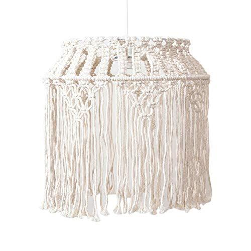 Lámpara de techo de macramé bohemia, lámpara colgante de techo, techo colgante blanco cálido, tejido a mano, cuerda de algodón, luz colgante para decoración del hogar, 40 x 40 cm