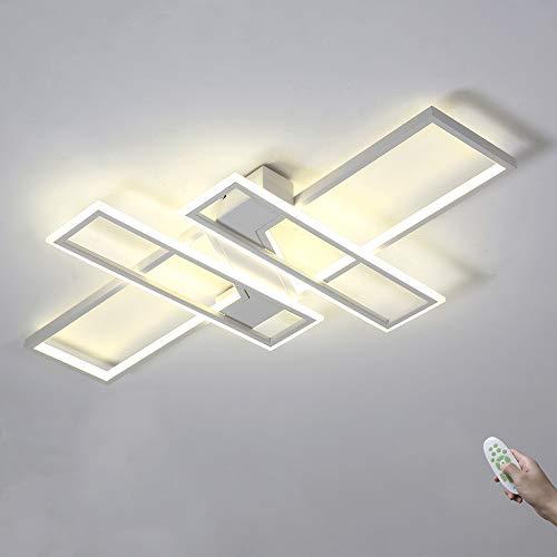 LED Rechteck Deckenleuchte Wohnzimmer Lampe Weiß Dimmbar mit Fernbedienung Deckenlampe Moderne Metall Acryl Schirm 4 flammig Decke Licht Ultradünn Design 80W für Esszimmer StudieBüro Beleuchtung
