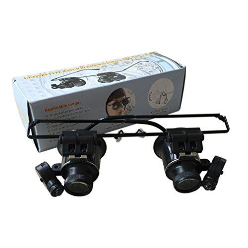 Gafas Aumento 20X Con Luz LED Aumentos Relojero Joyeria Lupa