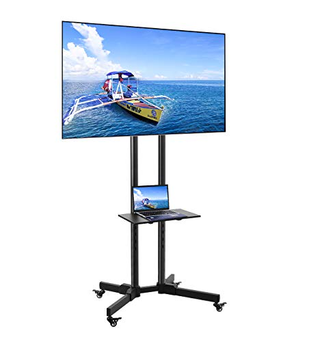 ORAF Mobile/Rolling TV Cart with Lockable Wheels for 32-65 inch LCD/LED Flat Screen AV Carts & Stands, Tall TV Stand with Mount Height Adjustable...