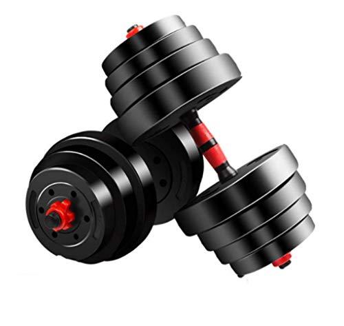 HUJPI Verstellbare Hantel, Paarweise verkauft rutschsichere Hantel freies Gewicht für Krafttraining für Männer Frauen Home Gym Hantelset,Black_15kg*2