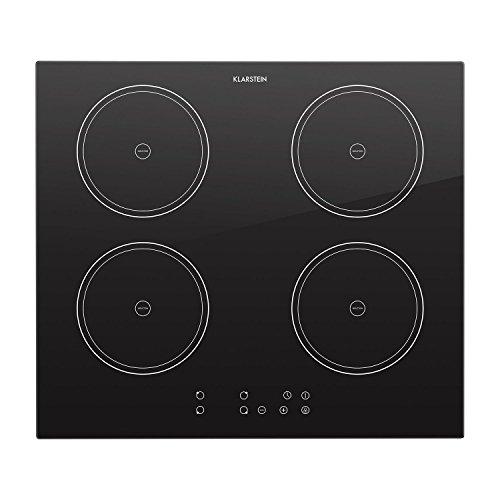 Klarstein Virtuosa piano di cottura a induzione (7000 Watt, 4 piastre, per pentole di 18 cm di diametro, timer, spegnimento automatico, display digitale) - nero
