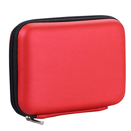Ruikey Funda para Disco Duro 2.5' Bolsa de Disco Duro Auriculares portátiles de EVA a Prueba de Agua   Línea de Cable USB   Caja de Almacenamiento de Power Bank (Rojo)