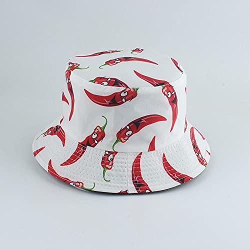 YUHOOE Vegetables Red ChiliPrint Sombrero De Pescador Panamá Verano Sombreros De Sol para Hombres Mujeres Sombreros De Arbusto Al Aire Libre Sombrero De Cubo Reversible Sombrilla,Blanco,55,59Cm