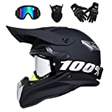 VOMI® Casco de Motocross para Motocicleta, Cascos de Descenso Hombre Enduro Quad MTB con Gafas/Máscara/Guantes, Downhill Cross Off Road ATV Scooter Apto Adultos, Dot Certificación,S