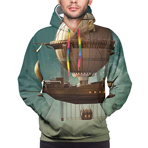 Men's Hoodies Sweatshirts,Surreal Sky Scenery with Steampunk Airship Fairy Sci Fi Stardust Space Image,Large