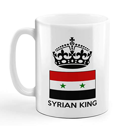 Ceramic Coffee Mug 11 Ounces Syrian King Crown Countries White Tea Cup Design Only