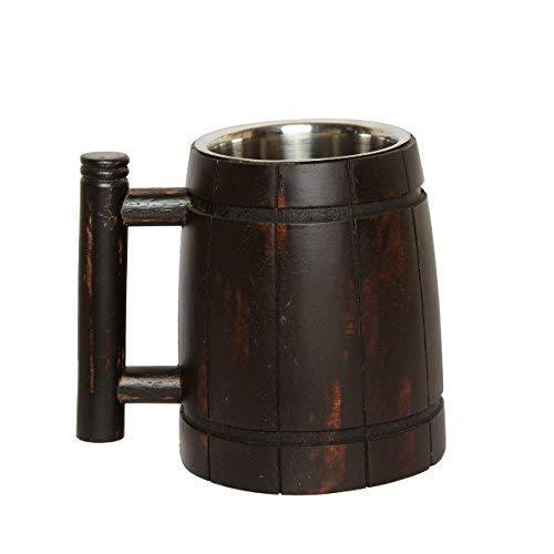 GoCraft - Taza de cerveza de madera hecha a mano con taza de acero inoxidable de 18oz | accesorios de bar vintage – diseño retro de barril marrón