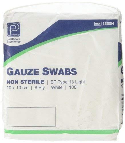 Premier 2 X Cotton Gauze Swabs 8 Ply 10 cm x 10 cm White Paper Packs (Pack of 100)