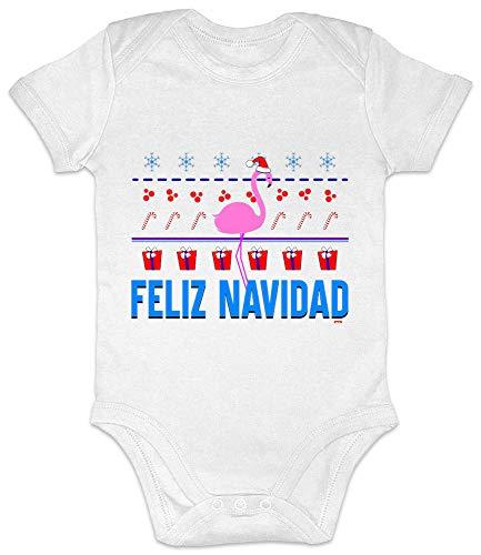 Hariz - Body de manga corta para bebé, diseño de flamencos navideños, incluye tarjeta de regalo blanco Color blanco. Talla:18-24 meses