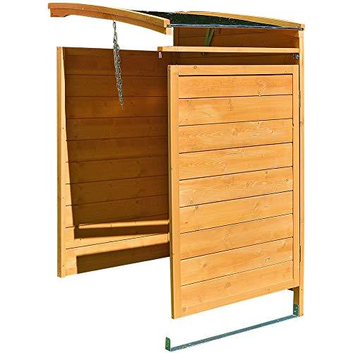 Melko Mülltonnenbox Anbaubox 120 Liter aus Holz 68 x 68 x 127 cm Mülltonnenhaus inkl. Rückwand