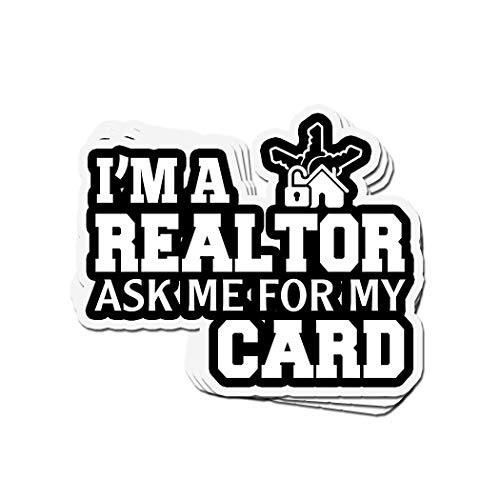 shopdoz 3 PCs Stickers I'm A Realtor Ask Me for My Card 4 × 3 Inch Die-Cut Wall Decals for Laptop Window