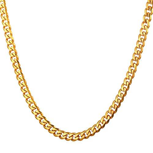 2 Stück Goldkette Panzerkette Halskette Goldene Kette Rapper Gangster Halskette Goldene Halskette für Fasching Karneval Party (Gold)