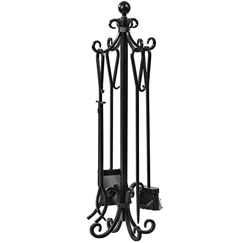 Amagabeli 5 Pieces Scroll Fireplace Tools Set Black Cast Iron Toolset with Log Holder Fireset Fire Pit Stand Rustic Tongs Shovel Antique Broom Chimney Poker Wood Stove Hearth Accessories Set