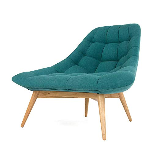 YUQIYU Living room upholstered linen casual tufted chair - wooden foot solid wood living room sofa chair study room leisure leisure bench furniture single fabric chair