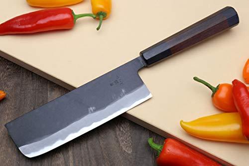 Yoshihiro Mizu Yaki Aogami Super Blue High Carbon Steel Kurouchi Nakiri Japanese Vegetable Knife (6.5'' (165mm) & No Saya)