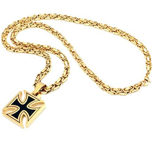 Schmuck-Checker Eisernes Kreuz Anhänger aus Edelstahl schwarz Gold massiv + 60cm Königskette Bikerschmuck Rockerschmuck Männerschmuck Ritterkreuz Tatzenkreuz vergoldet
