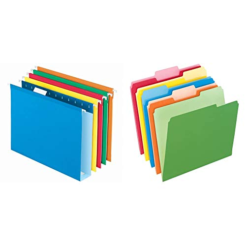Pendaflex Extra Capacity Hanging File Folders, Letter Size, Reinforced, 2 Inch Expansion & Two-Tone Color File Folders, Letter Size, Assorted Colors, 1/3 Cut, 100 per Box (152 1/3 ASST)