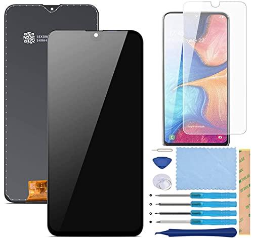 Pantalla LCD Táctil Asamblea Repuesto Compatible con Samsung Galaxy A20e 2019 SM-A202F/DS Negro con Herramientas + Película Templada