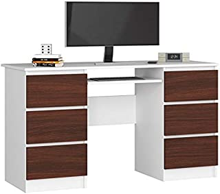 ADGO A-11 Bureau informatique universel 135 x 50 x 77 cm avec 1 étagère extensible avec 6 tiroirs 16 mm en stratifié ABS p...