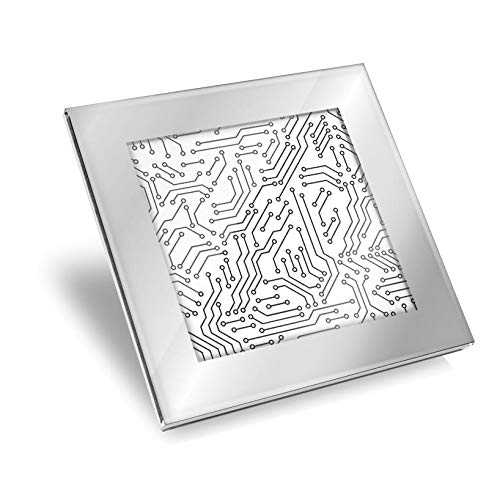 Posavasos de cristal plateado impresionante – Placa de circuito eléctrico Tech Geek...