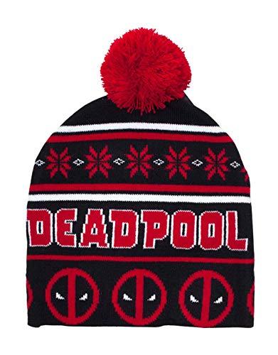 Marvel Deadpool Mütze Beanie Christmas Angry face Log Bobble Nue offiziell