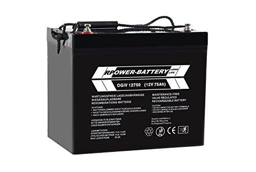 12V 75Ah RPower AGM Batterie / Bleiakku USV Akku Notstrom Notlicht Bleibatterie