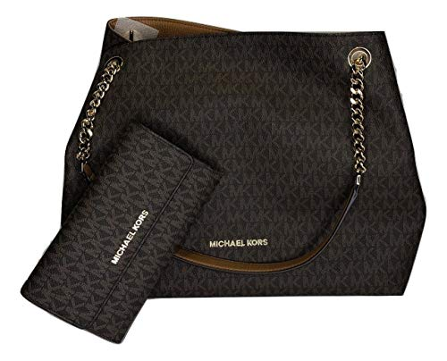 Bundle of 2 items: MICHAEL Michael Kors Jet Set Item Large Chain Shoulder Tote bundled with Michael Kors Jet Set Travel Trifold Wallet (Signature MK Brown/Acorn) Open Top with snap closure, Double top handles with both chain and leather Interior : 2 ...