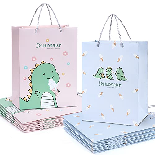 """Dinosaur Bags for Party Favor Gift Bags Birthday,12 pcs W9.8'' x H13"""" x D4.7"""" Large Gift Boxes with Handle Retail Boutique Craft Business Bag"""