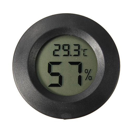 Tronic Grocer Digital Cigar Humidor Hygrometer Thermometer 1 3/4' Inch Round Black Face 001-c