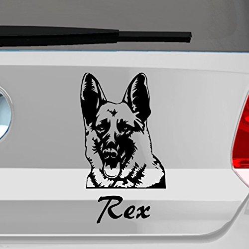 malango® Hund Deutscher Schäferhund mit Wunschname Autoaufkleber Autosticker Aufkleber Sticker Erhältlich in mehr als 30 Farben 11 x 20 cm weiß weiß 11 x 20 cm