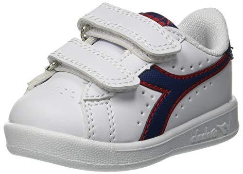 Diadora Game P TD, Chaussures de Gymnastique Garçon Mixte Enfant, Multicolore (White/Estate Blue/Tomato C7628), 25 EU
